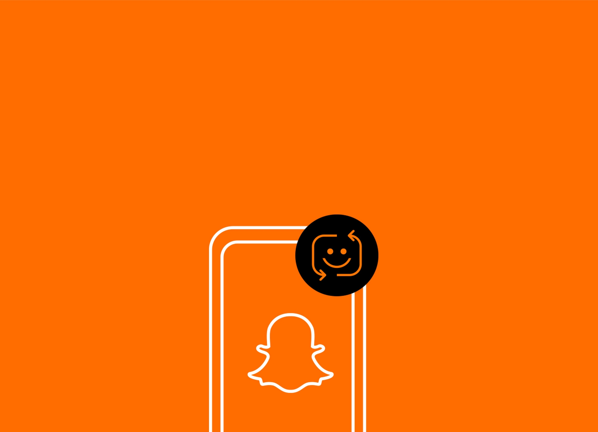 Snapchat logo on an orange background